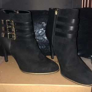 Sam and Libby Moto Buckle Black Ankle Bootie